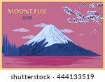 vintage poster of mount fuji in ...   Shutterstock .eps vector #444133519