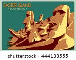 vintage poster of easter island ... | Shutterstock .eps vector #444133555