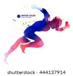 stall people  vector watercolor ... | Shutterstock .eps vector #444137914