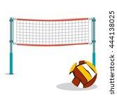 beach volleyball and net flat... | Shutterstock .eps vector #444138025