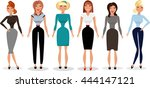 cute young women in business... | Shutterstock .eps vector #444147121