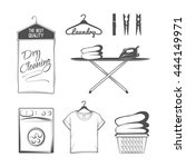 vector set of laundry logos ... | Shutterstock .eps vector #444149971