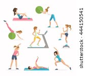 aerobics fitness and dropping ... | Shutterstock .eps vector #444150541