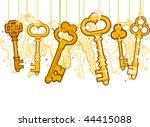 gold keys on strings   vector | Shutterstock .eps vector #44415088