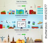 three travel and tourism...   Shutterstock .eps vector #444152377