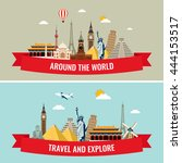 travel composition with famous... | Shutterstock .eps vector #444153517