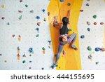 back view of sportswoman... | Shutterstock . vector #444155695