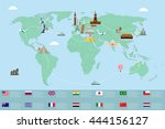 infographic world landmarks on... | Shutterstock .eps vector #444156127