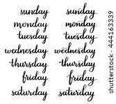 handwritten days of the week ... | Shutterstock .eps vector #444163339