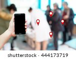 find a mobile location blurred... | Shutterstock . vector #444173719