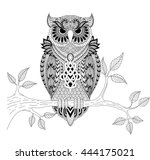 zendoodle of owl sitting on the ... | Shutterstock .eps vector #444175021