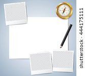 Vector paper and pencil, Blank paper, Lined paper with pencil, Compass vector. Polaroid frame vector. layout template for graphic, creative, business, education, A4 size. vector illustration