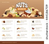 natural raw nuts mix brochure... | Shutterstock .eps vector #444186709