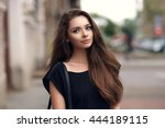 fashion style portrait of young ... | Shutterstock . vector #444189115