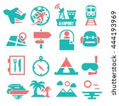 tourism  travel icon set | Shutterstock .eps vector #444193969