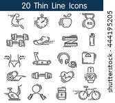 thin line sports icons set | Shutterstock .eps vector #444195205