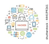 hackers and cyber criminals... | Shutterstock .eps vector #444199261