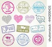 romantic postage stamp vector...   Shutterstock .eps vector #444200431