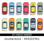 cars top view vector flat city... | Shutterstock .eps vector #444201961