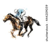colored hand drawing a rider... | Shutterstock .eps vector #444209059