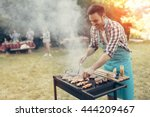 barbecue in nature being done... | Shutterstock . vector #444209467