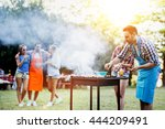 friends camping and having a... | Shutterstock . vector #444209491