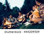 friends enjoying music near... | Shutterstock . vector #444209509