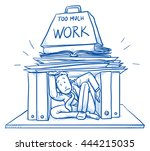 business man stuck under heavy... | Shutterstock .eps vector #444215035