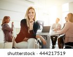 people working and... | Shutterstock . vector #444217519