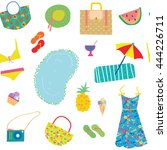 summer funny pattern for woman... | Shutterstock .eps vector #444226711