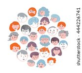 set of faces cartoons card... | Shutterstock .eps vector #444226741