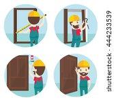 set of installation of doors... | Shutterstock .eps vector #444233539