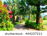 Small photo of A tropical garden with flowers and palm trees overlooking the ocean with blue sky. Garden Of Eden, Maui Hawaii