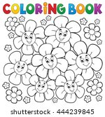 coloring book with smiling... | Shutterstock .eps vector #444239845