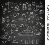 wedding icon set. wedding cake  ... | Shutterstock .eps vector #444241249