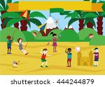 children playing on the beach | Shutterstock .eps vector #444244879