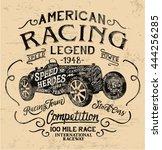 american racing legend  vintage ... | Shutterstock .eps vector #444256285