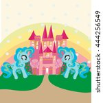 card with a cute unicorns...   Shutterstock .eps vector #444256549