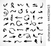 hand drawn arrows  vector set | Shutterstock .eps vector #444258415