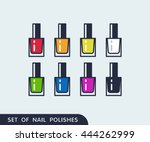 set of color nail polish.... | Shutterstock .eps vector #444262999