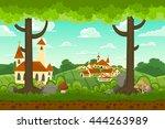 parallax cartoon country... | Shutterstock .eps vector #444263989