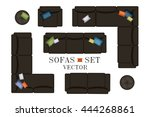 sofa top view. sofas and... | Shutterstock .eps vector #444268861