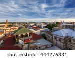 skyline view over city rusted metal rooftops of zanzibar city stone town