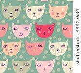 funny cartoon cats. children's... | Shutterstock .eps vector #44427634