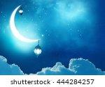 islamic greeting  eid mubarak... | Shutterstock . vector #444284257