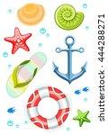 set of seaside objects... | Shutterstock .eps vector #444288271