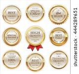 golden badges and labels with... | Shutterstock .eps vector #444289651