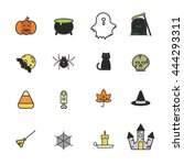 set of halloween icons. made in ... | Shutterstock .eps vector #444293311