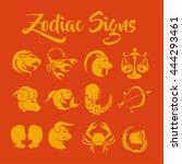 zodiac signs vector art | Shutterstock .eps vector #444293461