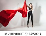 side view of young woman with... | Shutterstock . vector #444293641